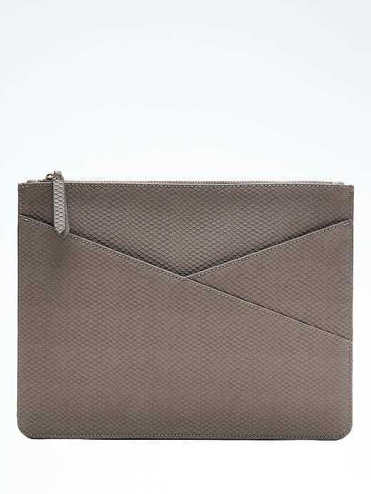 Snake Faux-Leather Zip Pouch