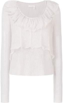 See by Chloe ruffle open knit sweater