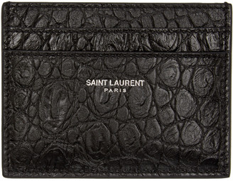 Saint Laurent Black Croc-Embossed Card Holder $245 thestylecure.com