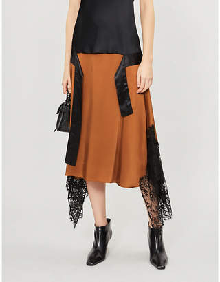 Christopher Kane Lace-trimmed satin midi skirt
