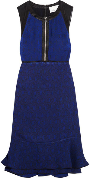 3.1 Phillip Lim 3.1 Phillip Lim - Silk Satin-trimmed Jacquard Mini Dress - Navy