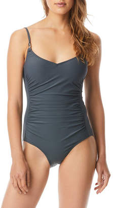 MICHAEL Michael Kors Ruched V-Neck Tank One-Piece Swimsuit