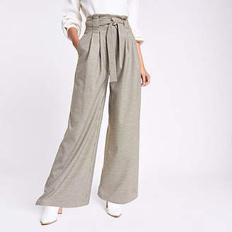 River Island Womens Khaki check wide leg belted trousers