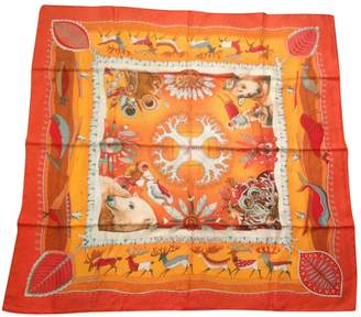 Hermes Orange Silk Silk Handkerchief