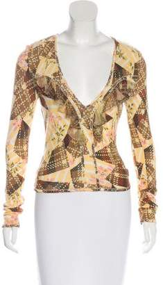 John Galliano Printed Long Sleeve Top