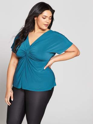 V by Very Curve Knot Front Jersey Top - Green