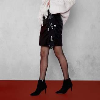 River Island Womens Black RI Studio patent leather mini skirt
