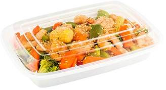 clear Asporto Microwavable To-Go Container - BPA Free PP Rectangular Take Out Food Container with Plastic Lid - Catering & Takeout - 16 oz - White - Plastic - Disposable - 100ct Box - Restaurantware