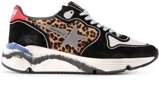 Golden Goose leopard panel running sneakers