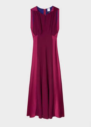 Paul Smith Women's Burgundy Satin Sleeveless Midi Dress