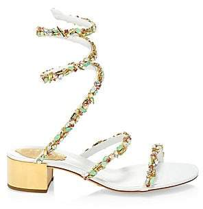 Rene Caovilla Women's Jewel Mid-Heel Ankle-Wrap Sandals