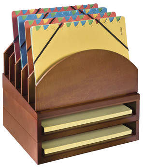 Co Darby Home Beaumys Stacking Wood Desk Organizers Step Up File & 2 Tray Kit