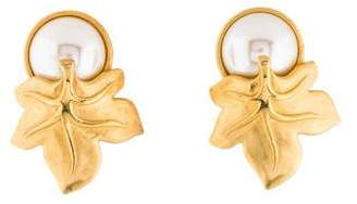Givenchy Faux Pearl & Leaf Clip-On Earrings