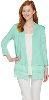 Logo By Lori Goldstein LOGO by Lori Goldstein Open Front Cardigan with Chiffon Hem