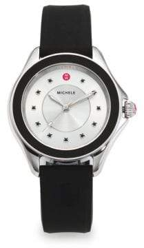 Michele Cape Black Topaz, Stainless Steel& Silicone Strap Watch/Black