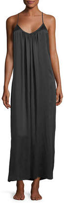 Neiman Marcus Washed Silk Long Easy Nightgown