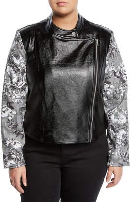 Rachel Roy Charlie Faux-Leather Jacket w/ Plaid Sleeves, Plus Size
