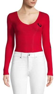 True Religion Printed Long-Sleeve Bodysuit