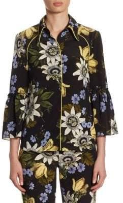 Erdem Aran Floral-Print Bell-Sleeve Silk Blouse