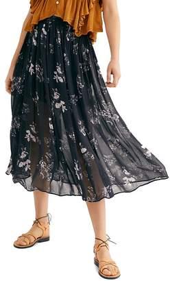 Free People Lydia Printed Midi Skirt
