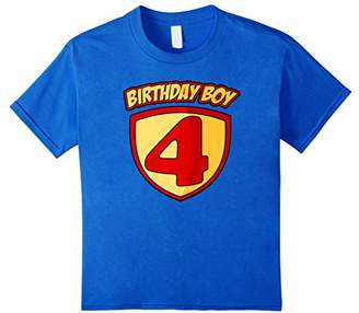 4th Birthday Superhero Boy T Shirt - 4 Years Old Gift Tee