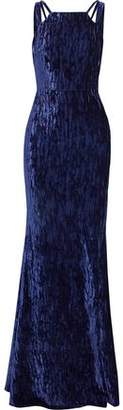 Badgley Mischka Cutout Crushed-Velvet Gown