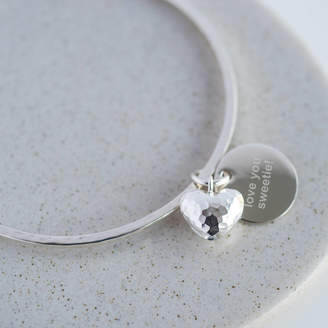 Oh So Cherished Personalised Hammered Heart Bangle