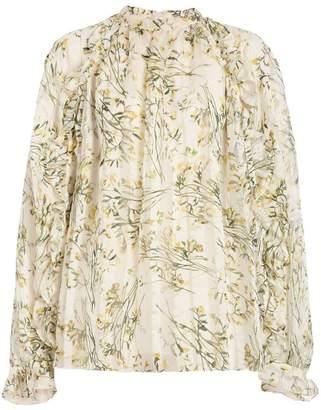 Burberry Ruffle Detail Floral Silk Blend Blouse