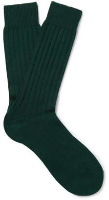 Pantherella Ribbed Cashmere-Blend Socks - Men - Forest green