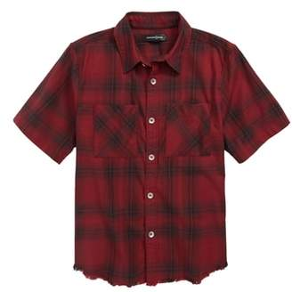 Treasure & Bond Distressed Plaid Flannel Shirt