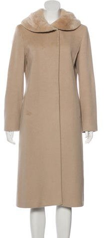 Cinzia RoccaCinzia Rocca Fur-Trimmed Angora-Blend Coat