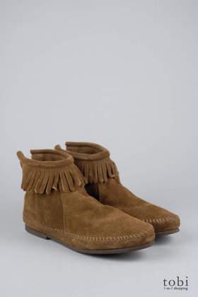 Minnetonka Back Zipper Suede Boots