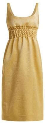 Emilia Wickstead Giovanna Ruched Lame Midi Dress - Womens - Gold