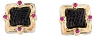 David Yurman Onyx & Ruby Sculpted Quatrefoil Stud Earrings