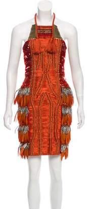 Gucci Feather-Trimmed Mini Dress