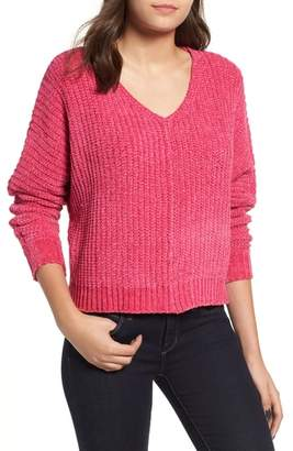 WOVEN HEART Shaker Stitch Chenille Sweater
