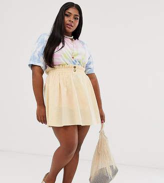 Asos DESIGN Curve seersucker mini skirt with shirred waistband