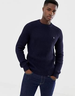 Jack Wills Hammond fisherman's sweater in navy