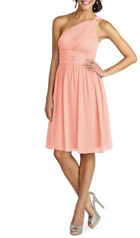 Donna Morgan Rhea One Shoulder Chiffon Dress