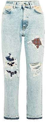 Golden Goose Distressed High-Rise Straight-Leg Jeans
