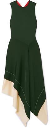 Victoria Beckham Color-block Asymmetric Stretch-knit Midi Dress