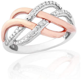 9ct Rose Gold Plated Sterling Silver Diamond Ring P