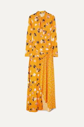 Self-Portrait Floral-print Stretch-crepe De Chine Maxi Dress - Yellow