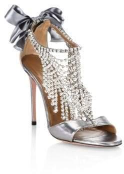 Aquazzura Fifth Avenue Crystal& Metallic Leather Sandals