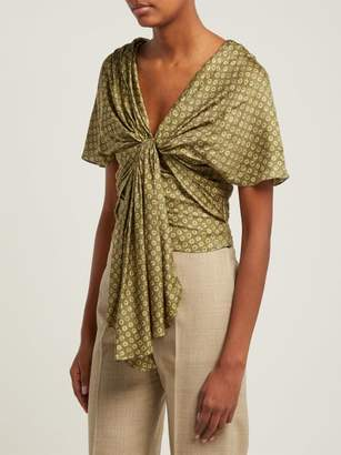 Jacquemus Amal Tie Front Satin Blouse - Womens - Green