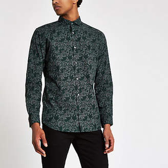 River Island Jack and Jones green slim fit floral shirt
