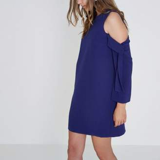 River Island Blue cold shoulder long sleeve swing dress