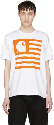 Junya Watanabe White and Orange Carhartt Edition Logo T-Shirt