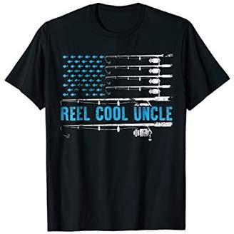 Mens Reel Cool Uncle T-Shirt 4th July USA Flag Fishing Gift