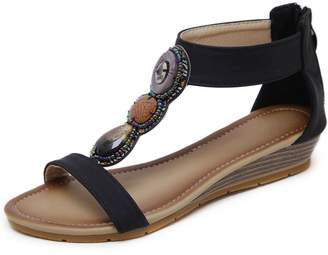 DecoStain Women's Concise T-Strap Sandals Bohemian Rhinestone Zip Beach Wedges Sandals